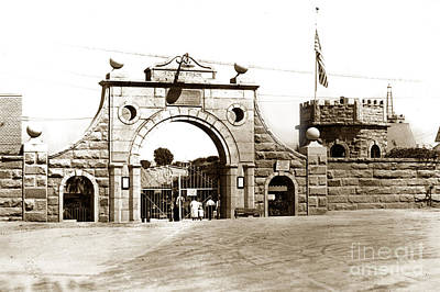 Photograph -  Main Gate At Folsom Prison California Circa 1915 by California Views Mr Pat Hathaway Archives