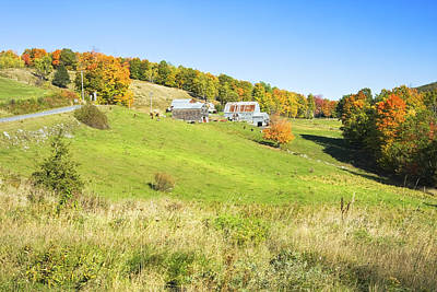 Maine Meadow Photograph -  Maine Farm On Side Of Hill In Autumn by Keith Webber Jr