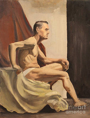 Painting -  Male Seated Nude by Art By Tolpo Collection