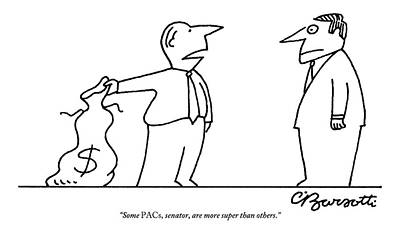 Drawing -  Man, Holding A Bag Of Money, Speaks To Another by Charles Barsotti