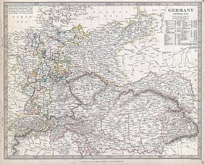 Travel To Hungary Photograph -  Map Of Germany by Paul Fearn