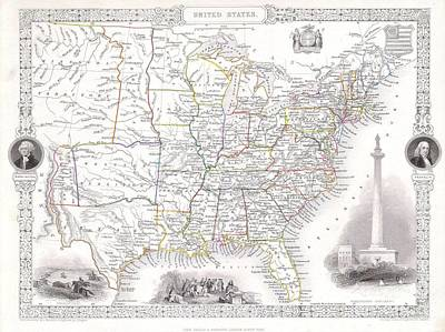 Maps Photograph -  Map Of The United States by Paul Fearn