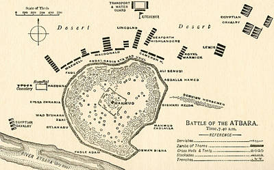 Border Drawing -  Map Showing The Battle Of Atbara During The Second Sudan War by English School