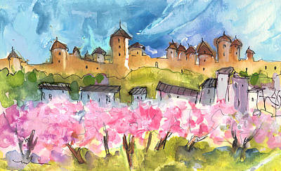 Castle Drawing -  Memory Of Carcassonne by Miki De Goodaboom