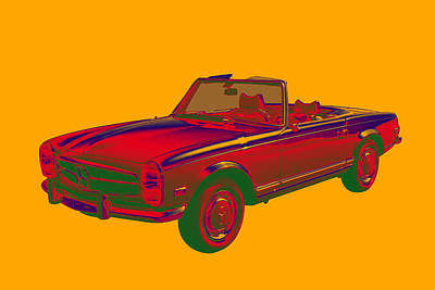Photograph -  Mercedes Benz 280 Sl Convertible Pop Art by Keith Webber Jr