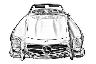 Photograph -  Mercedes Benz 300 Sl Convertible Illustration by Keith Webber Jr