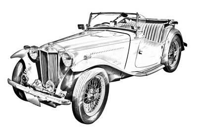 Photograph -  Mg Convertible Antique Car Illustration by Keith Webber Jr