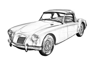 Photograph -  Mg Convertible Sports Car Illustration by Keith Webber Jr