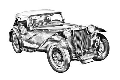 Black Top Digital Art -  Mg Tc Antique Car Illustration by Keith Webber Jr