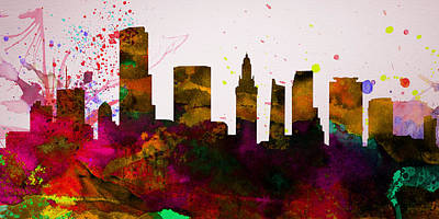 Miami Painting -  Miami City Skyline by Naxart Studio