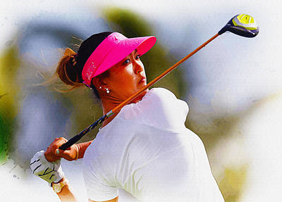 Ernie Els Wall Art - Digital Art -  Michelle Wie Hits A Tee Shot by Don Kuing