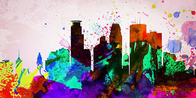 Capital Cities Painting -  Minneapolis City Skyline by Naxart Studio
