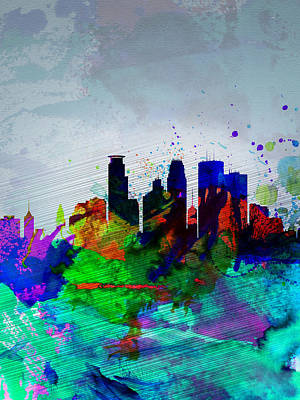 Architectural Painting -  Minneapolis Watercolor Skyline by Naxart Studio