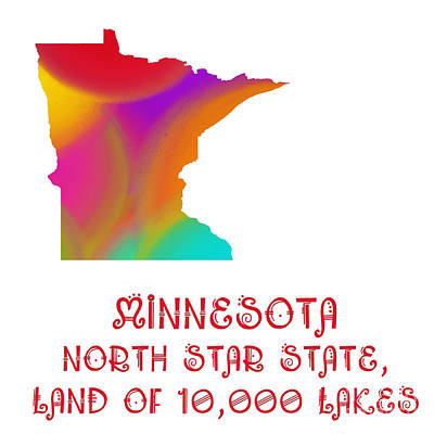Digital Art -  Minnesota State Map Collection 2 by Andee Design