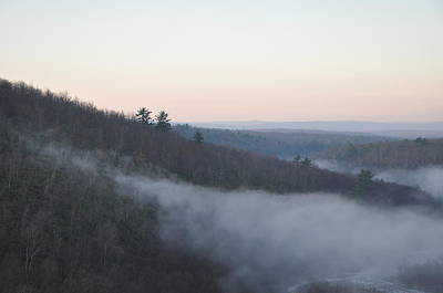 Mist Creeping Up The Mountain Print by Bill Cannon