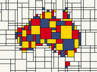 Abstract Map Digital Art -  Mondrian Inspired Australia Map by Michael Tompsett