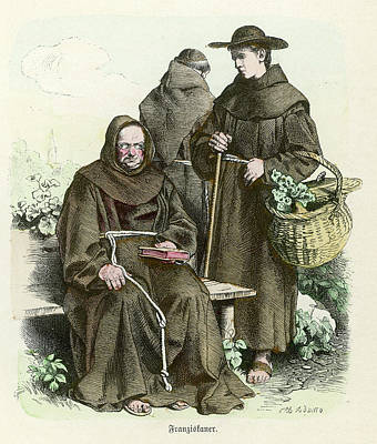 Monks Of The Order Of  Saint Francis Art Print by Mary Evans Picture Library