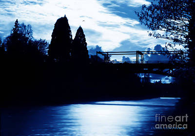 Art Print featuring the photograph  Montlake Bridge In Seattle Washington At Dusk by Eddie Eastwood