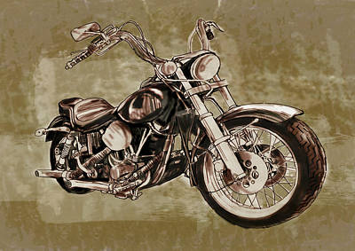 Los Angeles Drawing -  Motorcycle Art Sketch Poster by Kim Wang