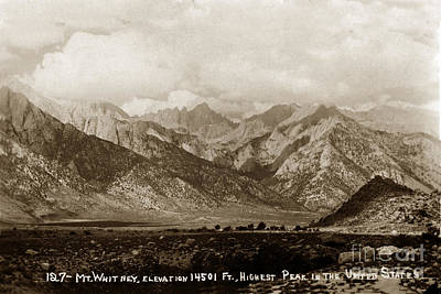 Photograph -  Mount Whitney In California Elevation Of 14501 Circa 1940 by California Views Archives Mr Pat Hathaway Archives