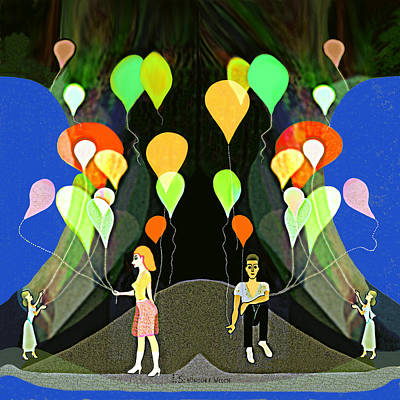 Painting - 330 -  My Beautiful Balloon  by Irmgard Schoendorf Welch