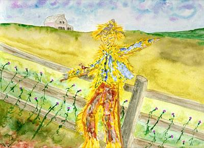 Painting -  Napping Scarecrow by Jim Taylor