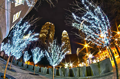 Nightlife Around Charlotte At Christmas Art Print