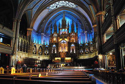 Photograph -  Notre Dame Basilica - Montreal by Jacqueline M Lewis