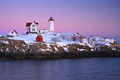 Photograph -  Nubble Light Under A Pastel Winter Sky by Jeff Sinon