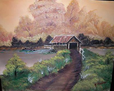Old Covered Bridge Art Print by Ken Frazer