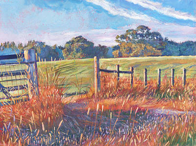 Pastoral Landscape Painting -  Old Post Gate by David Lloyd Glover
