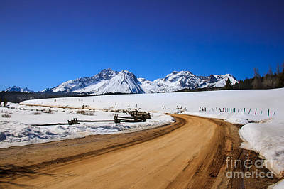 Photograph -  Open Road Tothe Sawtooth Mountains by Robert Bales