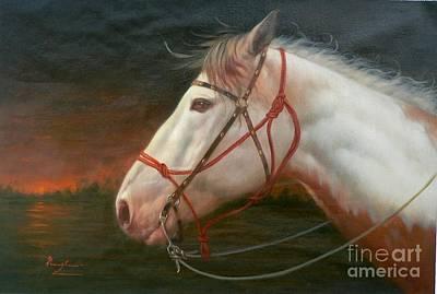 Animals Paintings -  Original Animal Oil Painting Art-horse#16-2-5-21 by Hongtao Huang