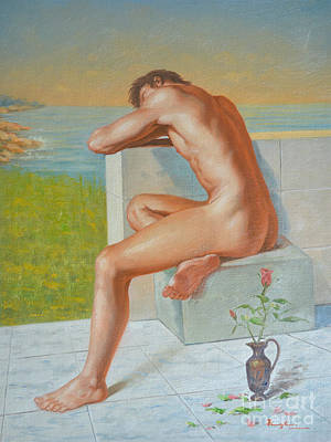 Original Classic Oil Painting Man Body Art  Male Nude And Vase #16-2-4-09 Art Print