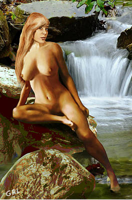 Painting -  Original Fine Art Nude Jess As Celtic Water Goddess Cortina by G Linsenmayer