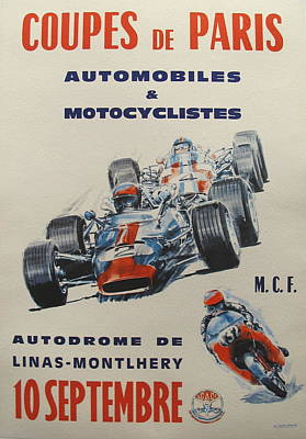 Racecar Drawing -  Original French Racing Poster Coupes De Paris by Unknown
