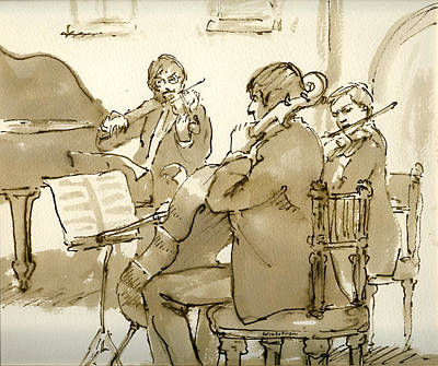 Piano Painting -  Original Pen And Ink Drawing Three Musicians In Concert by Thor Wickstrom