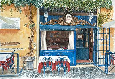 Cobblestone Painting -  Osteria Margutta Rome Italy by Anthony Butera