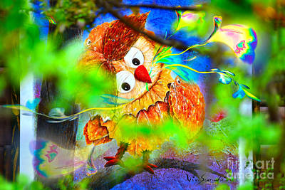 Owl Leaf Forest 2 Art Print by Vin Kitayama