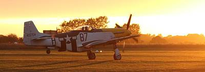 Ferocious Frankie Photograph -  P51 Mustang Sunset Takeoff  by Robert Phelan