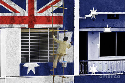 Flag Photograph -  Painting Australian Flag On Wall by Image World