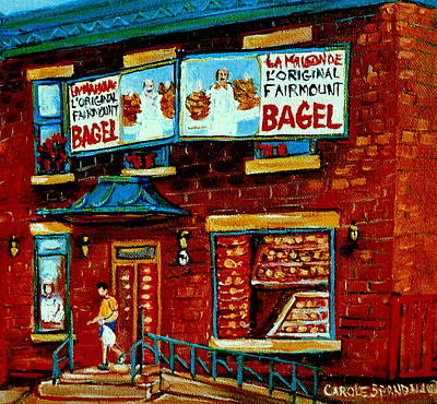 Painting -   Paintings Of Montreal Memories The Original Fairmount Bagel Shop With Vintage Baker Marquee by Carole Spandau