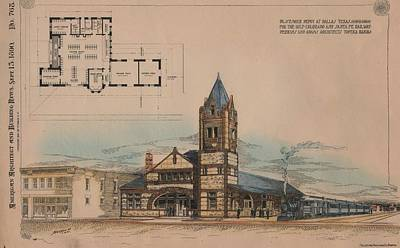 Dallas Texas Painting -  Passenger Depot For The Gulf Colorado And Santa Fe Railway In Dallas Texas by  Perkins and Adams Architects