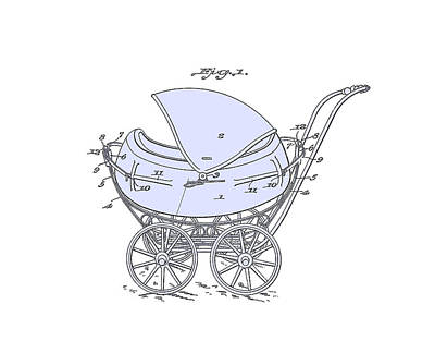 Baby Shower Digital Art -  Patent Baby Carriage 1923 Froman-1-blue On White by Lesa Fine
