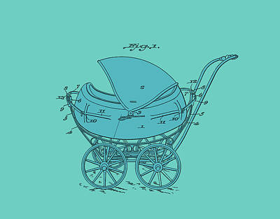 Digital Art -  Patent Baby Carriage 1923 Froman-blue On Green by Lesa Fine