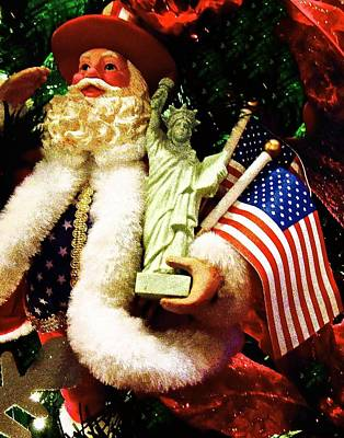 Colorful Photograph -  Patriotic Santa by Joan Reese