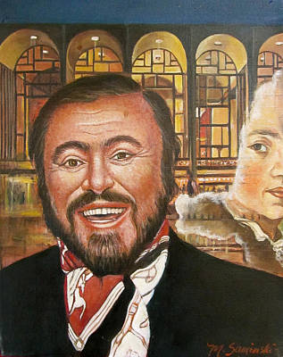 Painting -  Pavarotti And The Ghost Of Lincoln Center by Melinda Saminski