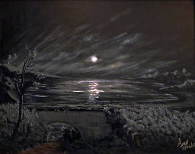 Branch Hill Pond Painting -  Peace Of Night by Abey Mekonnen