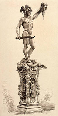 Gorgon Drawing -  Perseus With The Head Of  Medusa Chief by Mary Evans Picture Library