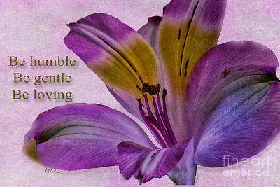 Photograph -  Peruvian Lily With Scripture by Sandra Clark
